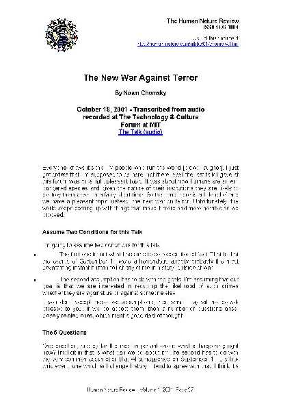 33046 pages2bde2bamerica - The New War Against Terror PDF- Noam Chomsky