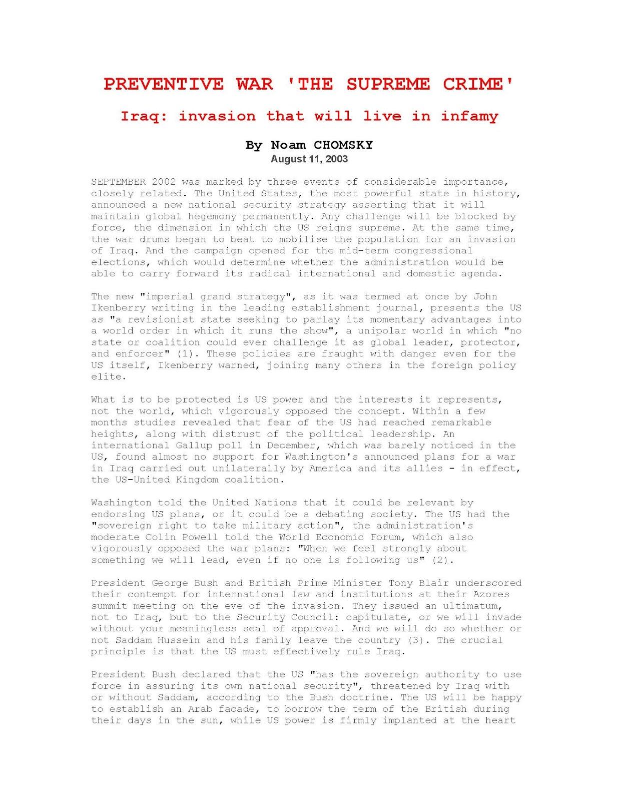 70489 pages2bde2bpreventive2bwar2c2bthe2bsupreme2bcrime - Preventive War 'The Supreme Crime' Iraq: invasion that will live infamy PDF - Noam Chomsky
