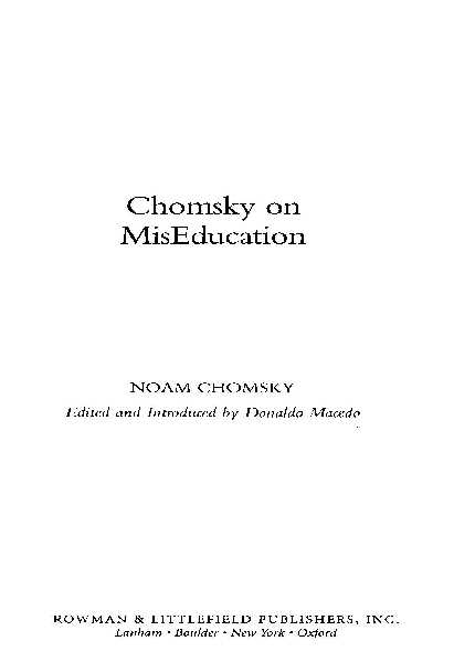 d63b9 pages2bde2bchomsky2bon2bmiseducation - Chomsky on MisEducation PDF - Noam Chomsky